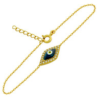 """Yellow Gold-Tone Plated Sterling Silver Cubic Zirconia Marquise Dark Blue Eye Bracelet 6""""+1"""""""