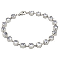 "Rhodium Plated Sterling Silver Bezel Set Cubic Zirconia Tennis Bracelet 7"""