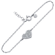 """Rhodium Plated Sterling Silver Cubic Zirconia Pave Heart Bracelet 6.5""""+1"""""""