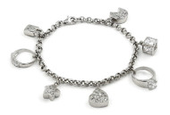Rhodium Plated Sterling Silver Cubic Zirconia Dangling Charms Bracelet 7.5""
