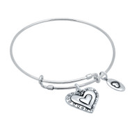 "Sterling Silver Beaded Heart & Love Charms Wire Expandable Bangle Brecelet 7"" To 8"""