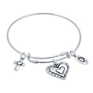 "Sterling Silver Beaded Heart, Cross & Love Charms Wire Expandable Bangle Brecelet 7"" To 8"""