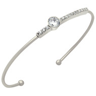 Rhodium Plated Sterling Silver Cubic Zirconia Bar With Round CZ Wire Bangle Brecelet