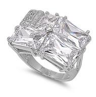 Designer Inspiration Ring Rhodium Plated Brass Cubic Zirconia