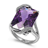 Rectangular Stone Designer Ring Rhodium Plated Brass Lavender Cubic Zirconia