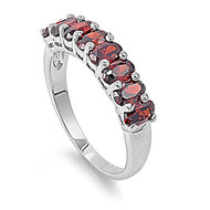 Channeled Ice Ring Simulated Ruby Rhodium Plated Brass Cubic Zirconia