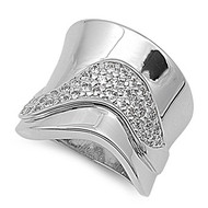 Designer Style Concave Ring Rhodium Plated Brass Cubic Zirconia