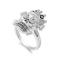 Dead King Danger Skull Ring Skull Rhodium Plated Brass Cubic Zirconia