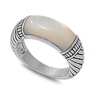 Designer Inspired Ring Rhodium Plated Brass Simulated Mother Of Pearl