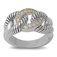 Two Tone Infinity Knot Ring Rhodium Plated Brass Cubic Zirconia