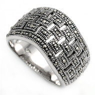 Square Weave Patterns Simulated Marcasite Vintage Style Ring Sterling Silver 925