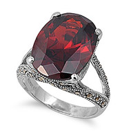 Vintage Style Oblong Stone Ring Rhodium Plated Brass Simulated Garnet Cubic Zirconia Simulated Marcasite