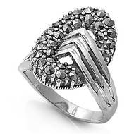 Vintage Abstract Ring Rhodium Plated Brass Simulated Marcasite