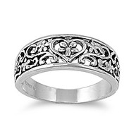 Heart Filigree Persuasion Ring Rhodium Plated Brass