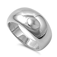 Plain High Polished Ring Rhodium Plated Brass