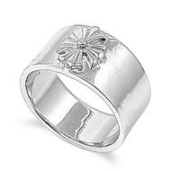 Lonely Flower Ring Rhodium Plated Brass