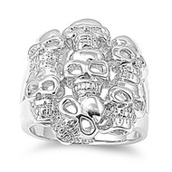 Inferno Skulls Ring Rhodium Plated Brass