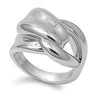 Designer Knot Ring Rhodium Plated Brass