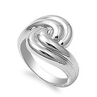 Swirl Infinity Ring Rhodium Plated Brass