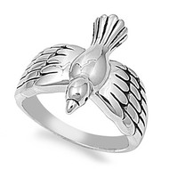 Dove Ring Rhodium Plated Brass