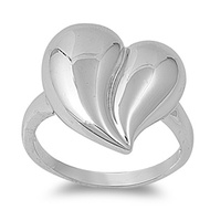 High Polished Heart Ring Rhodium Plated Brass