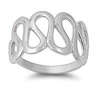 Designer Curve Ring Rhodium Plated Brass
