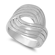 Designer Swirl Ring Rhodium Plated Brass