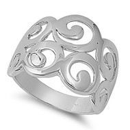 Designer Filigree Ring Rhodium Plated Brass