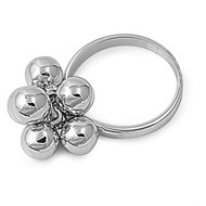 Dangling Spheres Ring Rhodium Plated Brass