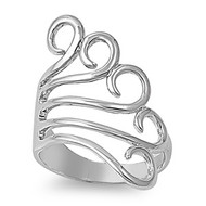 Angel Wings Abstraction Ring Rhodium Plated Brass