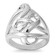 Abstract Infinity Ring Rhodium Plated Brass
