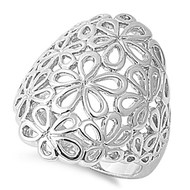 Flower Filigree Ring Rhodium Plated Brass