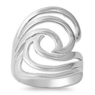 Designer Inspired Swirl Ring Rhodium Plated Brass