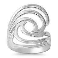Designer Inspired Swirl Ring Rhodium Plated Brass