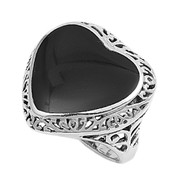 Filigree Heart Simulated Onyx Stone Ring Sterling Silver 925