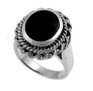 Filigree Round Simulated Onyx Stone Ring Sterling Silver 925