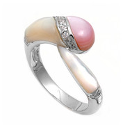 Staccato Designer Simulated Mother Of Pearl Stone Ring Sterling Silver 925
