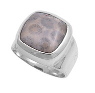 Bezel Radiant Simulated Coral Stone Ring Sterling Silver 925