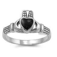 Claddagh Heart Simulated Onyx Stone Ring Sterling Silver 925