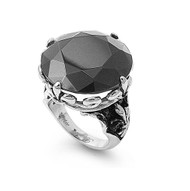 Faceted Black Cubic Zirconia Gothic Ring Stainless Steel