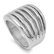 Designer Rows Ring Stainless Steel