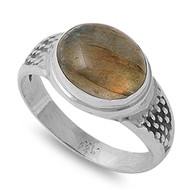 Brown Simulated Agate Stone Simulated Filigree Oval Ring Sterling Silver 925