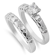 Cubic Zirconia Half Way Stackable Wedding Ring Rhodium Plated Brass