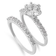 Half Way Stackable Engagement/ Wedding Ring Rhodium Plated Brass Cubic Zirconia