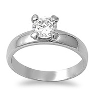 Small Round Cubic Zirconia Solitaire Ring Stainless Steel