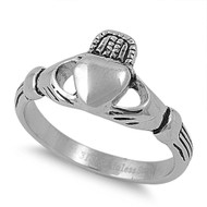 Stainless Steel Plain Claddagh Ring 10MM