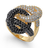Together Forever Designer Ring Rhodium Plated Brass Black Cubic Zirconia