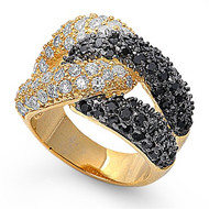 Love Knot Fashion Ring Rhodium Plated Brass Black Cubic Zirconia