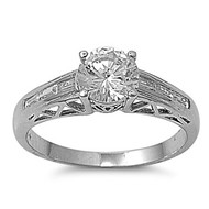 Designer Blueprint Ring Rhodium Plated Brass Cubic Zirconia