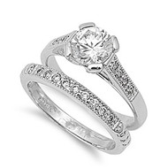 Cubic Zirconia Set of 2 Wedding Ring Rhodium Plated Brass